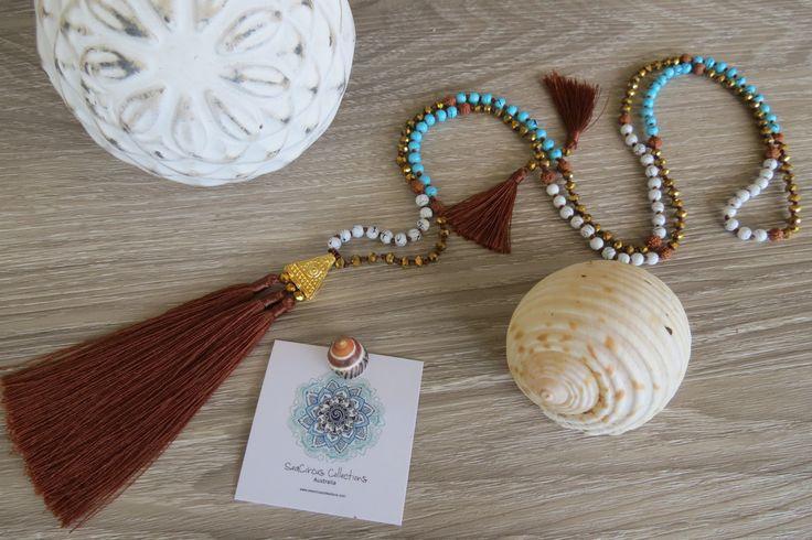 Tassel Necklace Caramel Tassel White Blue & Wood Beads Festival Handmade Beach Wear Resort Boho Handmade Beach Wear Resort Wear Handmade by SeaCircusCollections on Etsy