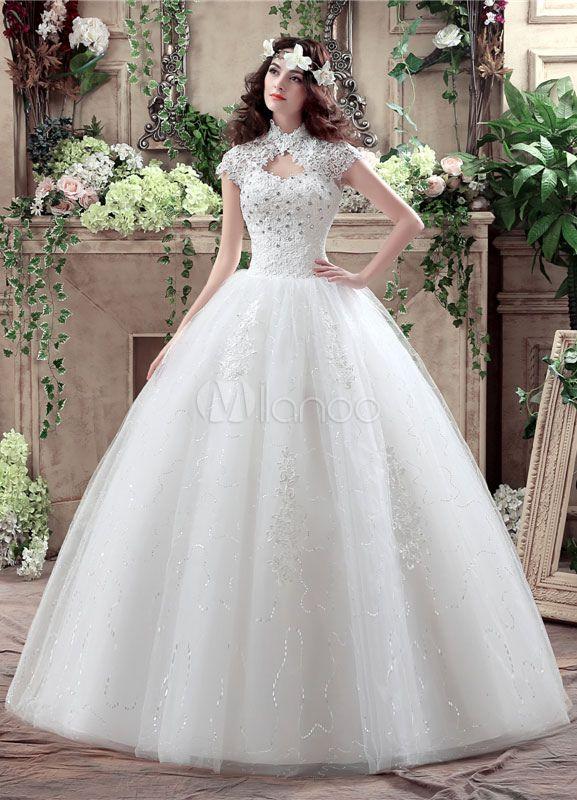 8557d7f133 Princess Wedding Dress Lace High Collar Maxi Bridal Gown Keyhole Rhinestone  Beading Sequins Floor Length Ball Gown White Bridal Dress