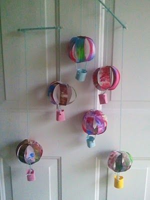 Kids paper hot air balloons -- this gives me some ideas!!!