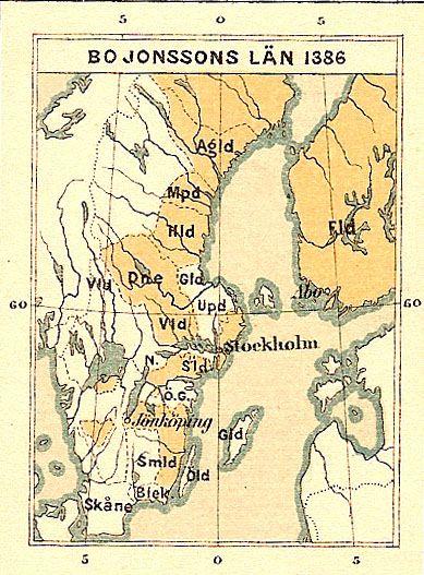 Bo Joninpoika Gripin läänitykset vuonna 1386. Kartta vuodelta 1880. - Bo jonssons län sverige - Bo Joninpoika Grip – Wikipedia