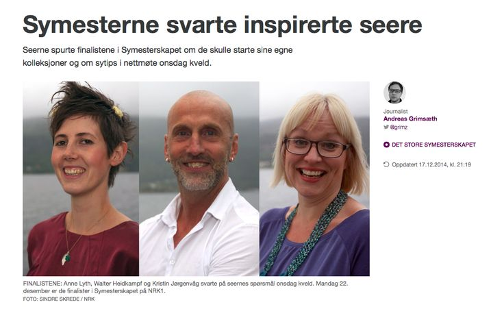 """The Sewing bees finalists in the Norwegian version """"Det store symesterskapet.  The winner: Anne Lyth   follow Anne :http://www.topstitched.net"""