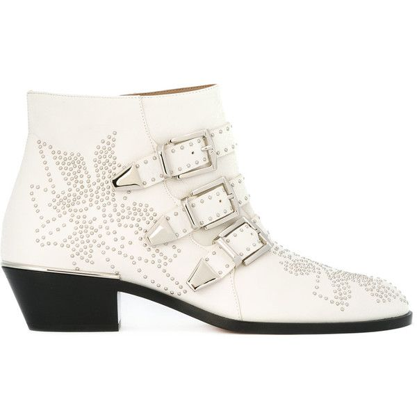 Chloé Susanna ankle boots ($1,380) ❤ liked on Polyvore featuring shoes, boots, ankle booties, white, buckle booties, leather boots, short leather boots, white leather boots and white ankle boots