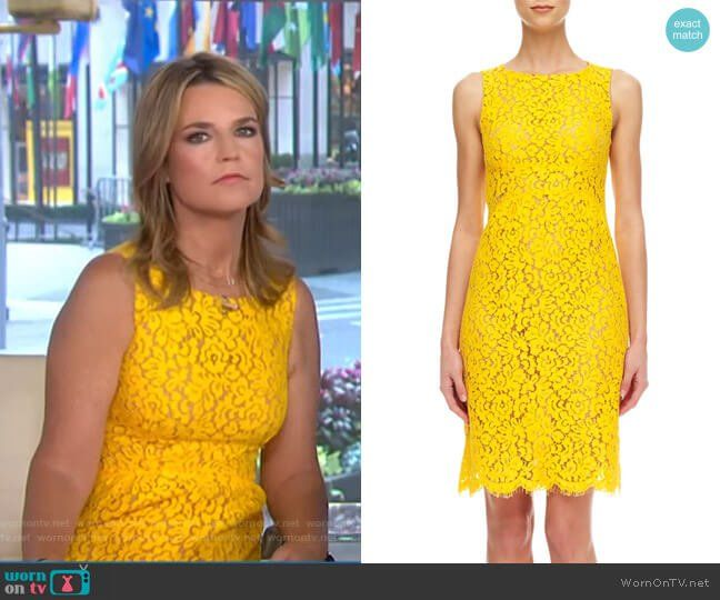 Savannah S Yellow Lace Sleeveless Dress On Today Outfit Details Https Wornontv Net 71894 Today Yellow Lace Sleeveless Dress Dresses