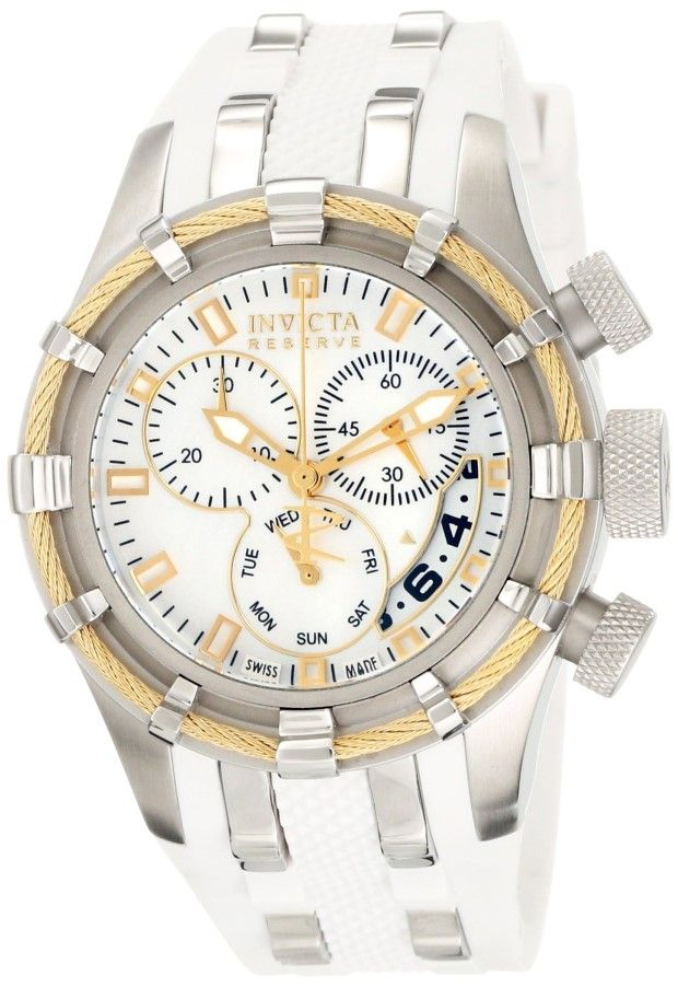 women's watches:  White watches for women  Invicta Women's 6945 Reserve Collection Bolt Chronograph White Polyurethane W
