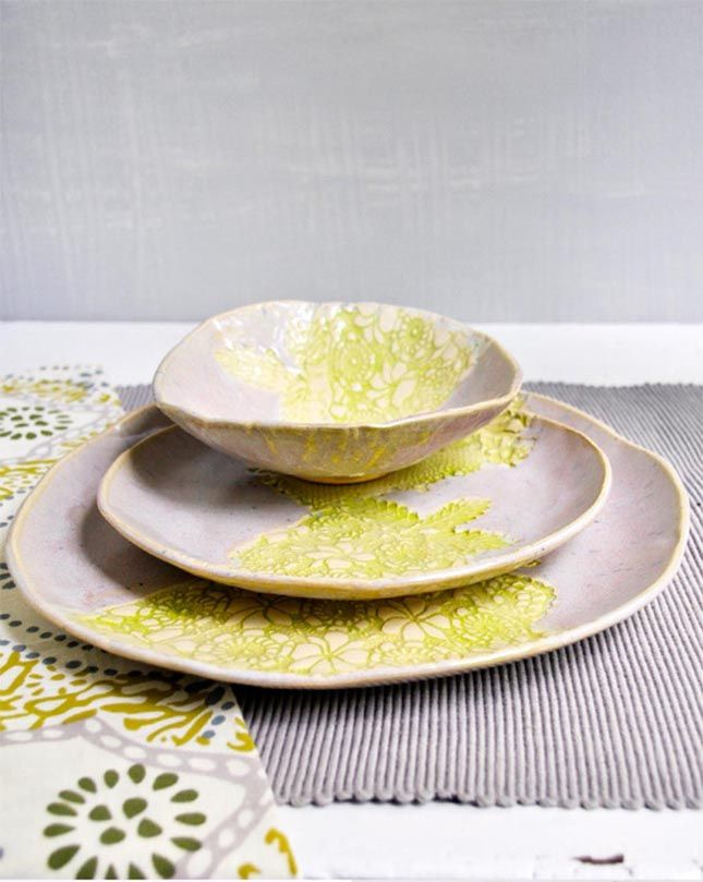 15 Dinnerware Sets for Your Spring Soirées via Brit + Co.  Packed with handmade charm, every piece is unique in its own way. Delicate yet sturdy, this set makes for great indoor and outdoor springtime dinnerware.