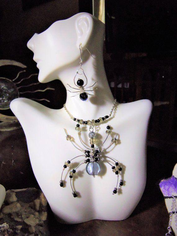 Halloween jewelry - Spider jewelry - girlfriend gift,Goth jewelry