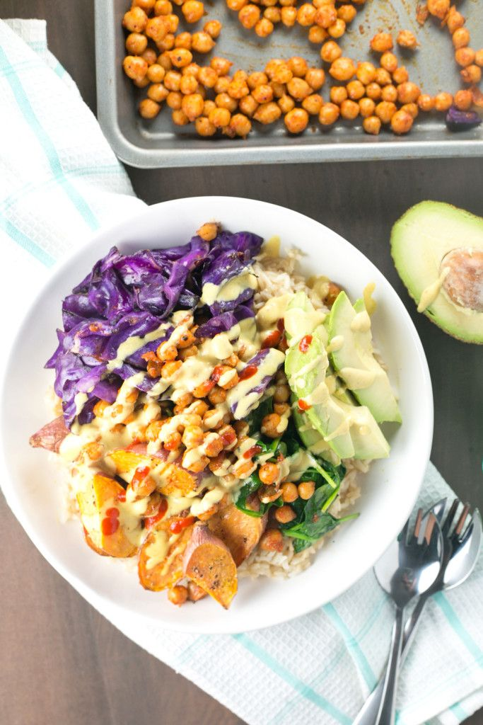 Spicy Buddha Bowl loaded with Brown Rice, Maple Sriracha Chickpeas, Roasted Sweet Potato, Veggies and a creamy Turmeric Tahini Dressing.