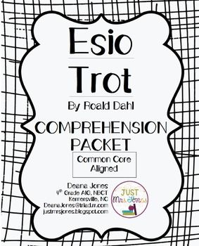 FREE Comprehension Packet for Esio Trot by Roald Dahl.  Easy-to-use, printable, Common Core aligned