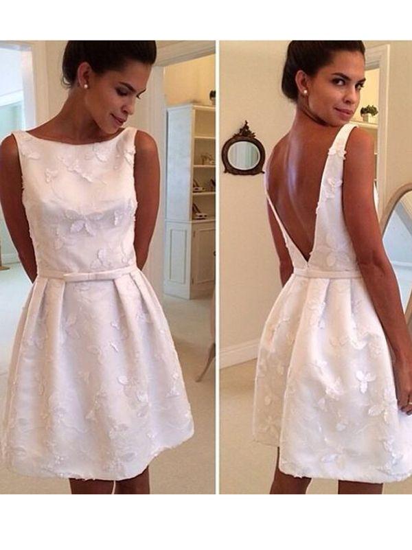 A-line+Bateau+Knee-length+Satin+Cocktail+Dresses/Short+Prom+Dress#+ZP393