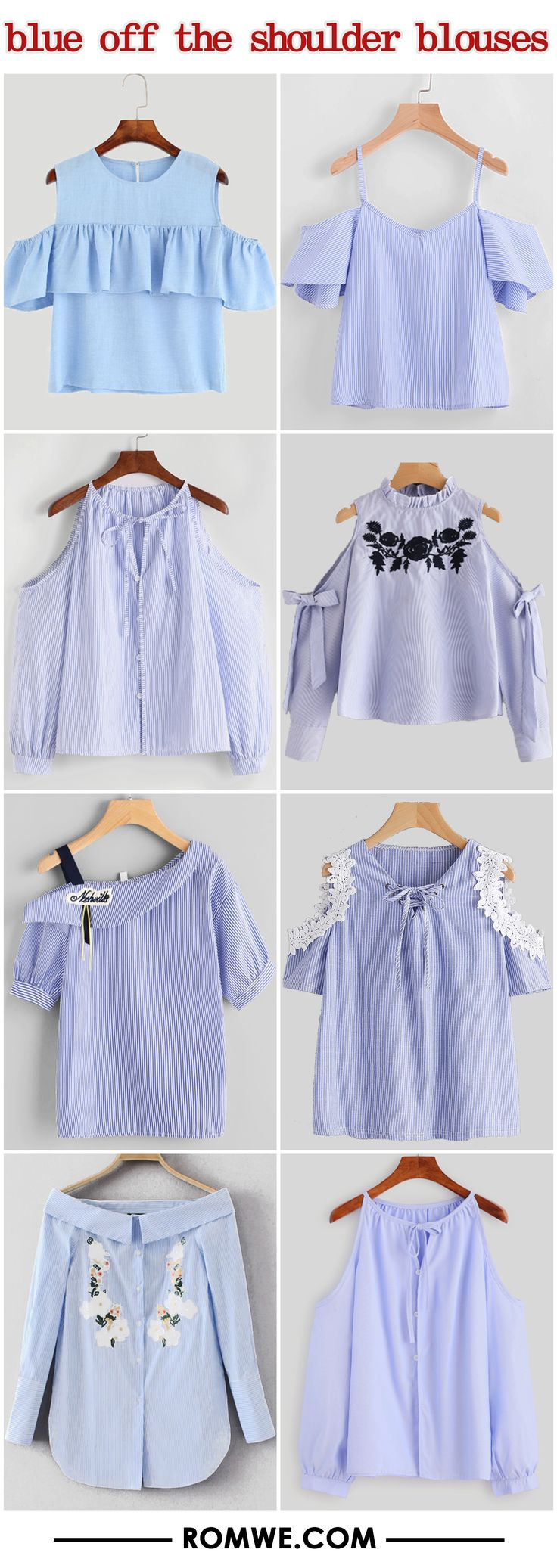 blue off the shoulder blouses 2017 - romwe.com