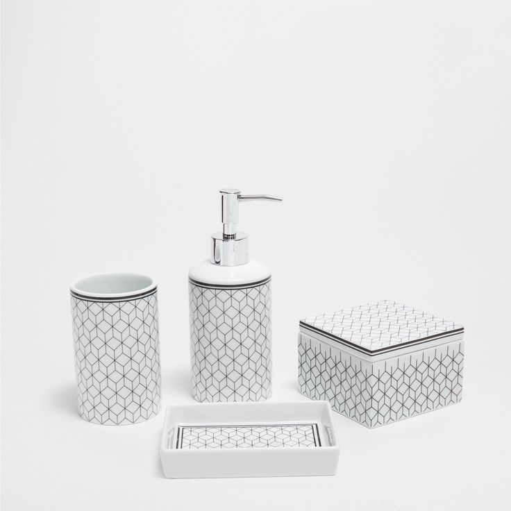 crystal bathroom accessories sets%0A Black and White Zara Bathroom Set