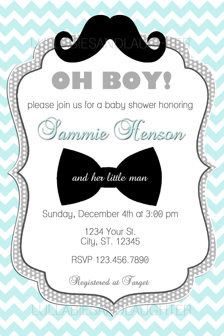 custom chevron mustache boy baby shower invitation digital