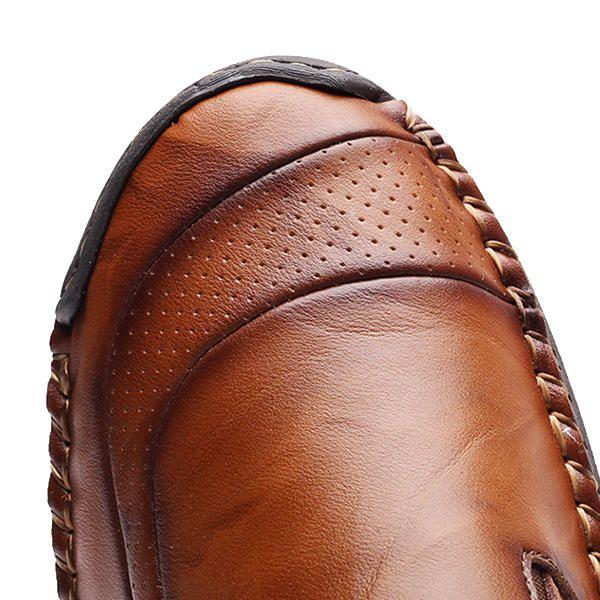 Men Comfy Hand Stitching Genuine Leather Side Zipper Slip On Oxfords - US$57.91