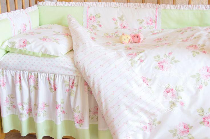 """Купить Бортики в детскую кроватку """"Весенний шебби"""" - салатовый, бортики в кроватку, бортики на кроватку"""