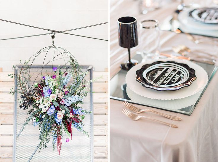 Posh Edgy Wedding Inspiration | Ready for some moody colors and extra texture to actually brighten your party? Dinner Ware, Mirror Place Settings, and Goblets are all for rent @relicsvintagerentals.