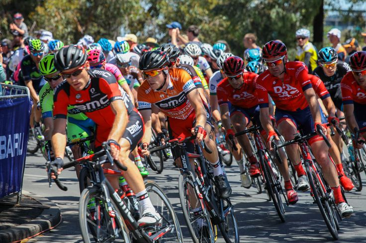 2015 Santos Tour Down Under - Stage 6.  Winner of Tour Dennis Rohan (in Ochre Jersey - middle of picture).
