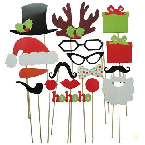 Funny DIY 17 PCS Photo Props Booth Mustache Glasses Snowflake On A Sticker Wedding Birthday Christmas Party Family