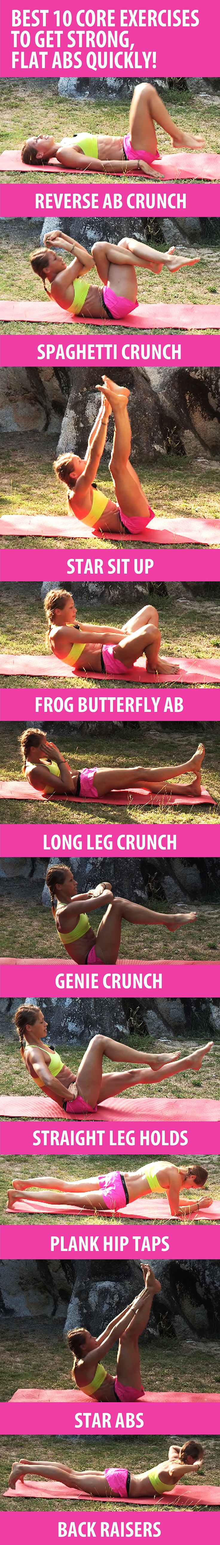 These 10 core exercises will help you sculpt six-pack abs, build core strength, and get rid of belly fat quickly. Recommended reps: BEGINNERS 8-10, INTERMEDIATE 10-15, ADVANCED 20-30