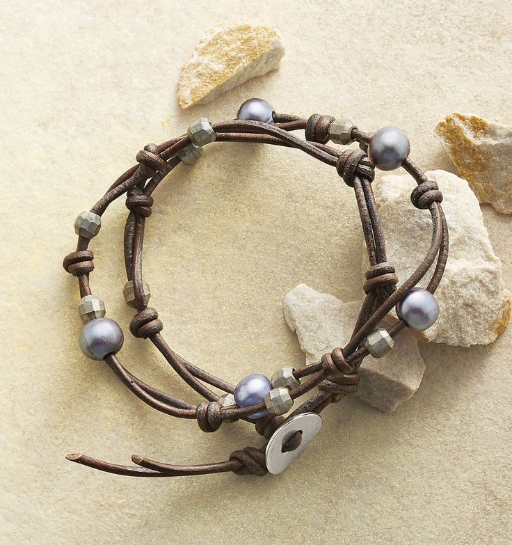 Willow Branch Wrap Bracelet - knotted leather bracelet with gray freshwater pearls.