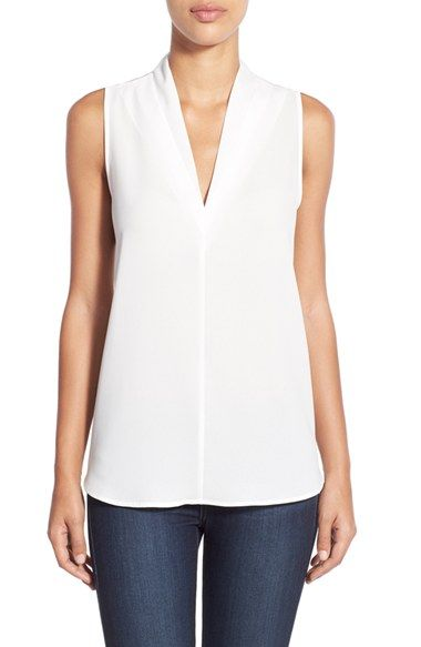 Free shipping and returns on Pleione Layered V-Neck Sleeveless Blouse (Regular & Petite) at Nordstrom.com. Layered detailing at the V-neckline adds subtle depth to a versatile sleeveless blouse in a choice of solid colors.