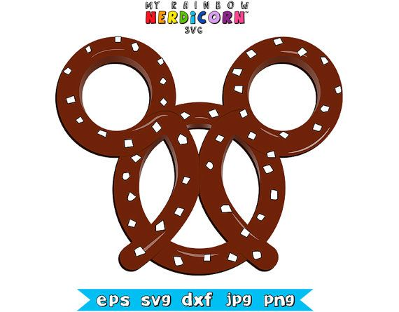 Mickey Mouse shaped pretzel stencil Disney clipart file in svg png jpg dxf for Cricut & Silhouette