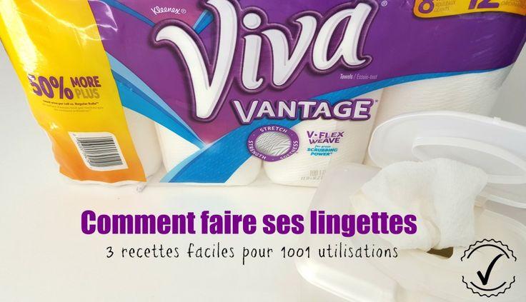 3 recettes pour faire ses lingettes humides maison.  Lingettes désinfectantes Lingettes pour bébés Lingette démaquillante #DIY #faitmaison