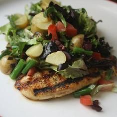 Grilled Chicken Paillard with chopped Salad Niçoise