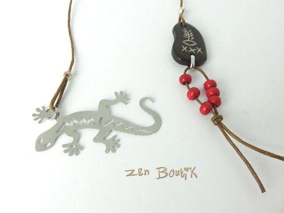 Marque-Page Gecko Signet Zen Ethnique Tribal Marque par ZenBoutik