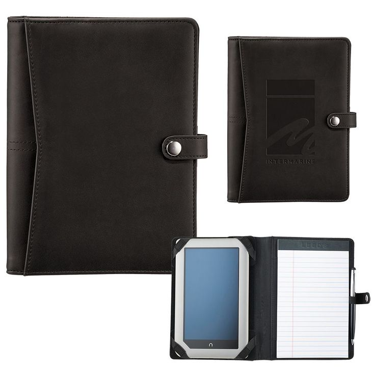 Inside cover features adjustable brackets for holding an assortment of seven inch tablets including iPad mini and most Kindle and Nook styles. Elastic pen loop. Includes 127mm x 203mm lined writing pad. Pens, iPad and devices not included.