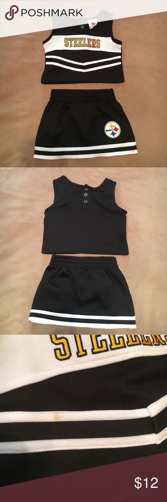 Baby steelers shirt and tank top Adorable toddlers Steelers skirt and tank top.  One spot, but worn once or twice.  18 months nfl  Matching Sets