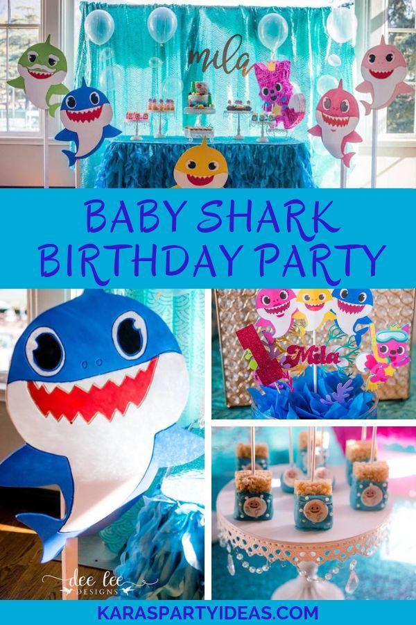 Baby Shark Birthday Party Kara S Party Ideas Kids Themed Birthday Parties Shark Themed Birthday Party 2nd Birthday Party Themes