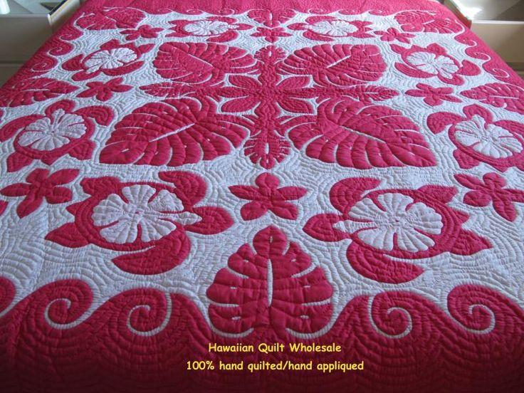Hawaiian Quilt | Sea Turtles-Monstera-Hibiscus-Plumeria-FP Super Fine Materials 2 ...