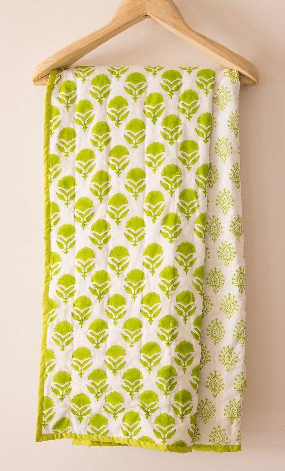 Block print bohemian baby quilt - baby shower gift - Green - toddler blanket - nursery bedding - summer blanket