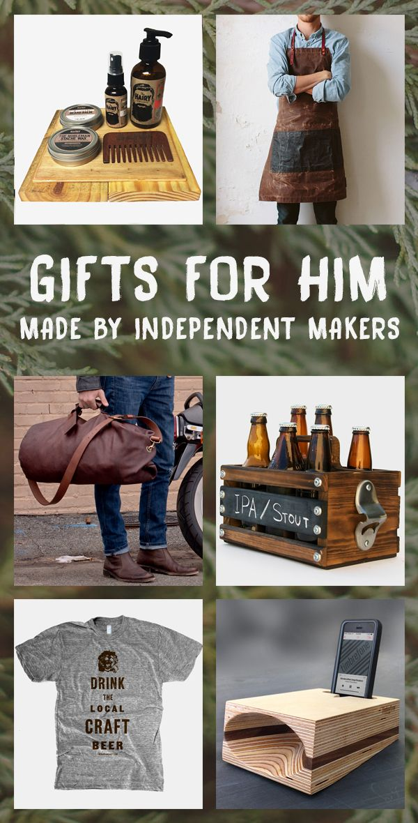 These unique, handmade gifts are sure to please the special man in your life.  Whether he's a beer lover, vintage tee wearer, swanky beard donner, or grill master extraordinaire, these goods will let dad, boyfriend, husband, brother, and son know just how much you care.