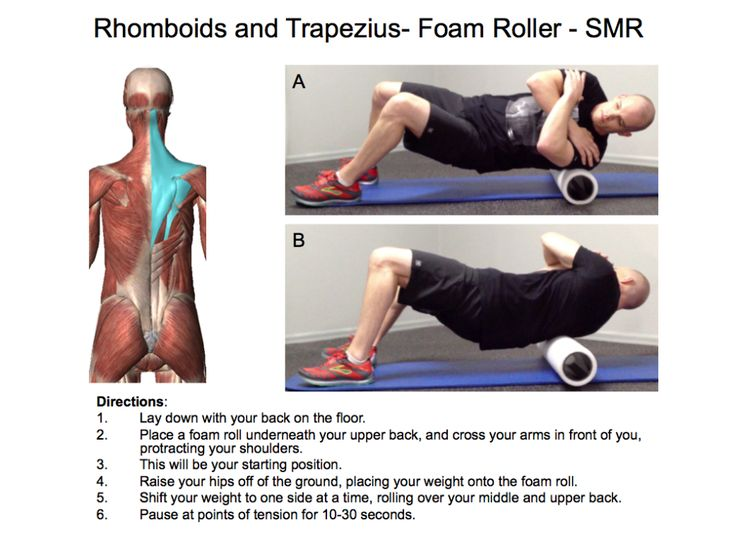 Rhomboids and trapezius SMR Exercise | Upper back and neck ...