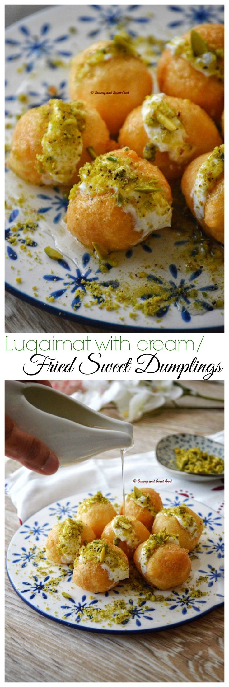 Luqaimat with Cream is a puffy sweet fried dumpling, dipped in sugar syrup and served with thick cream and pistachios.