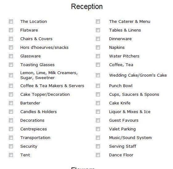 Best 25 Reception Checklist Ideas On Pinterest