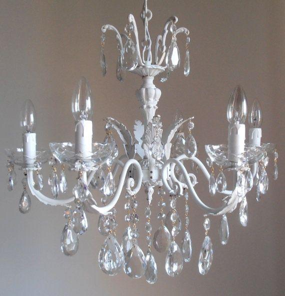 in saldo Meraviglioso TOTAL WHITE lampadario bianco a gocce, 6 luci vintage anni 50 italiano, shabby chic, unico on Etsy, €355,23