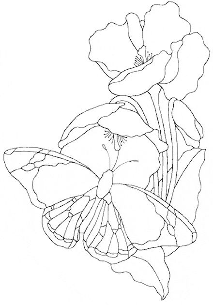 Butterfly pattern free sample from Stained Glass Patterns by Jillian Sawyer, from Glass Books