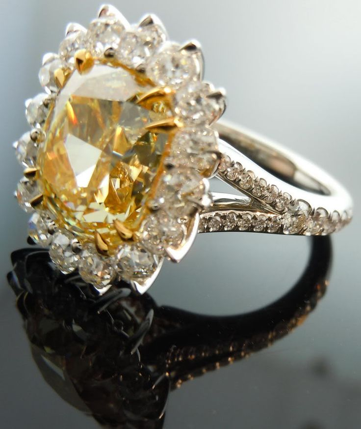 Yellow Diamond Ring | Halo Diamond Ring | Fancy Yellow Diamond...I would say yes anyway to this ring!!