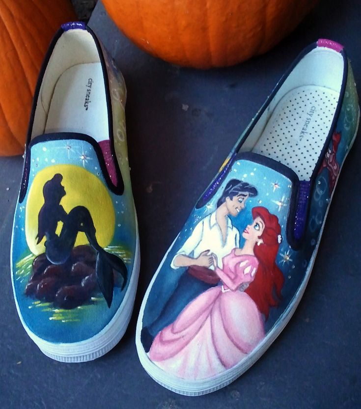 Disney Animation Inspired The Little Mermaid Custom Adult Shoes Size 7.5. $450.00, via Etsy.