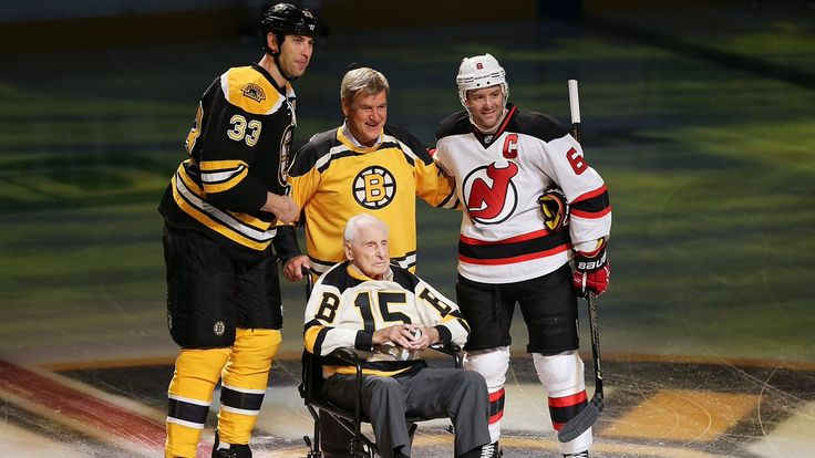 Current Bruins captain Zdeno Chara with Bs legends, Bobby Orr and the recently late Milt Schmidt. RIP.
