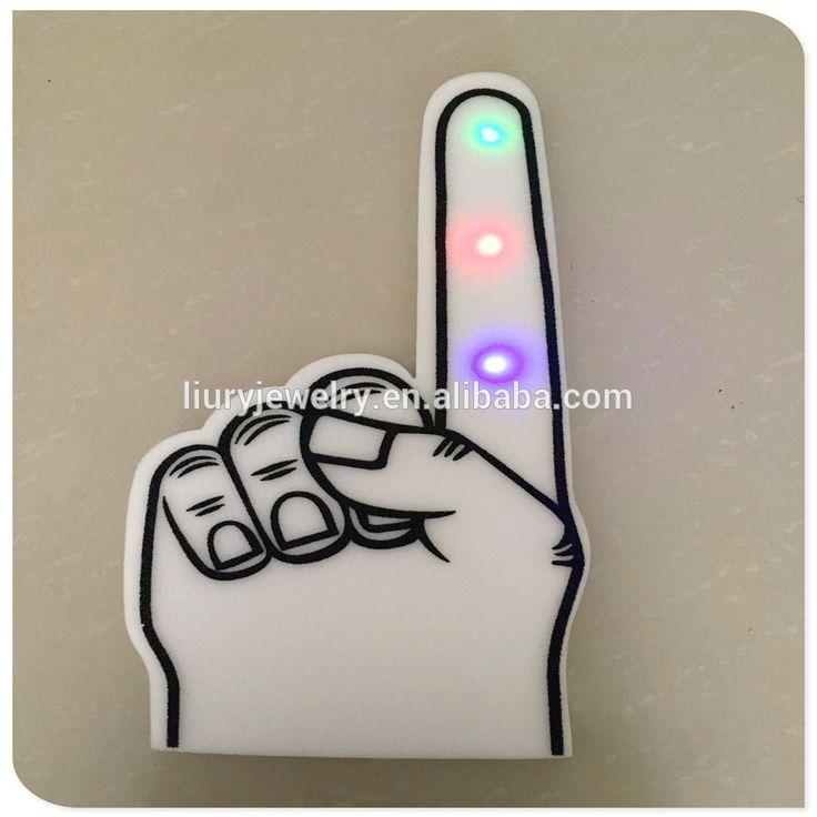 2017 custom logo LED Foam Hands with Flashing lights Big Cheering Giant Shocker Hand Foam Finger sponge