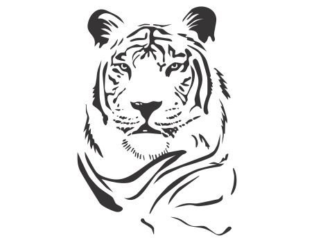 Cabeza de tigre para colorear   Acuarela   Pinterest   Stencils ...