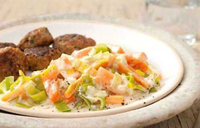 Frikadellen mit Möhren-Lauch-Gemüse - 10 einfache Rezepte für jeden Tag - Zutaten für 4 Portionen: - 1 Brötchen (vom Vortag) - 2 Zwiebeln - 4 EL Pflanzenöl - 1 Bund Petersilie - 400 g gemischtes Hackfleisch - 1 Ei (Größe M) - 1 TL edelsüßes Paprikapulver - 1 EL Senf...