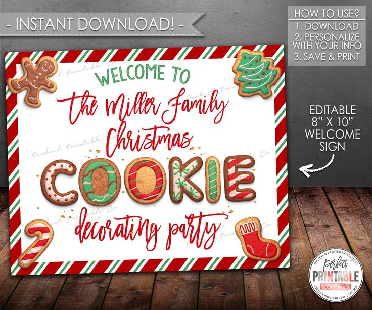 cookie exchange welcome sign  cookie decorating welcome sign  christmas cookie party  printable