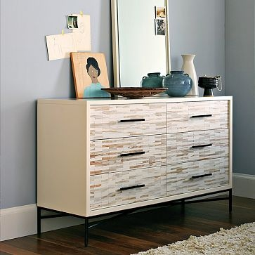 Wood Tiled 6-Drawer Dresser: Idea, Tiled 6 Drawer, Dressers, Wood Tiled, Tiled Dresser, Woods, West Elm, Bedroom