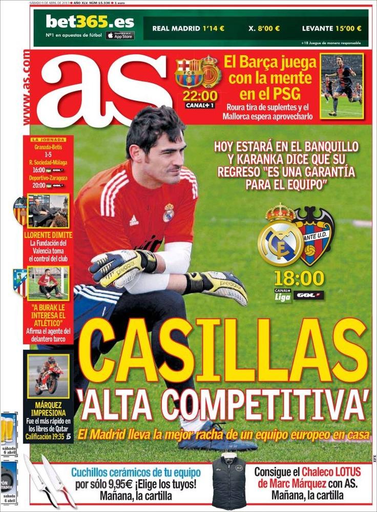 Los Titulares y Portadas de Noticias Destacadas Españolas del 6 de Abril de 2013 del Diario Deportivo AS ¿Que le parecio esta Portada de este Diario Español?