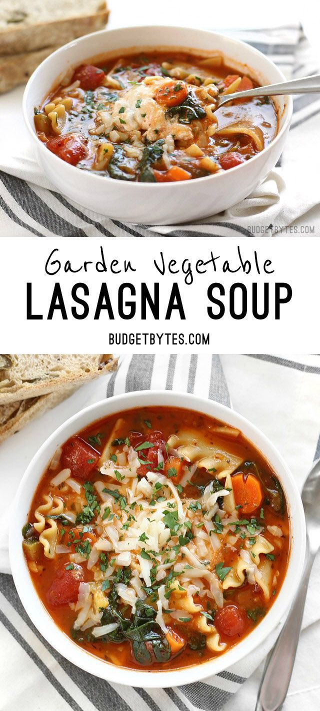 Garden Vegetable Lasagna soup with a colorful vegetable medley and a melty three cheese ricotta blend in each bowl. @budgetbytes