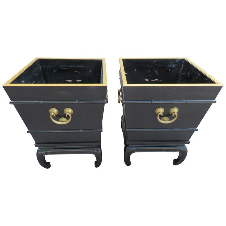 Pair Of 1stdibs Planters / Jardinieres – Asian Lacquered Chinoiserie American Modern Wood